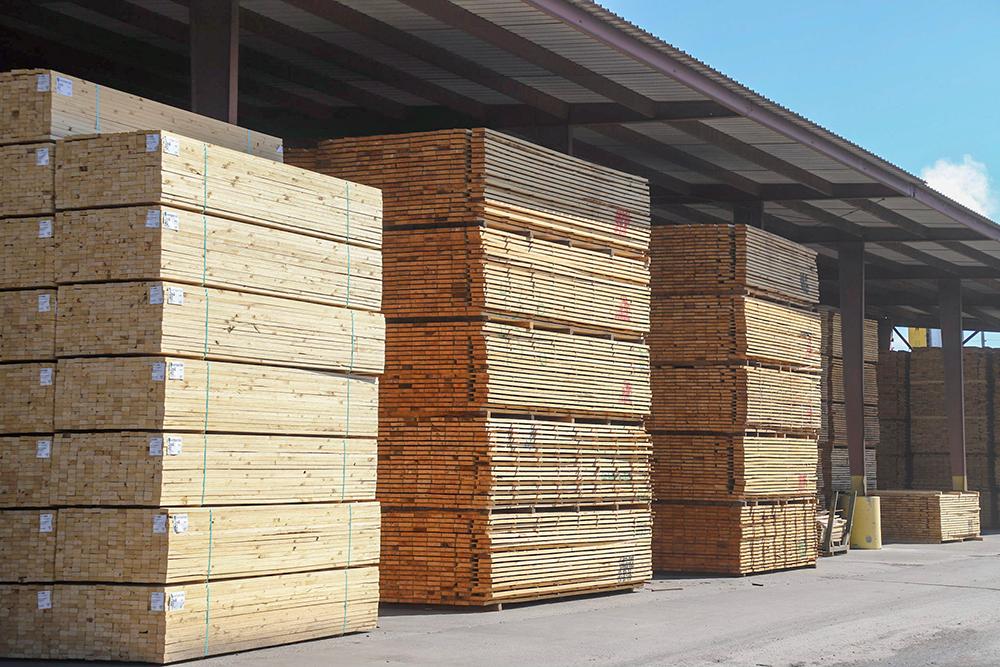 Stacks of Southern Yellow Pine lumber at a sawmill
